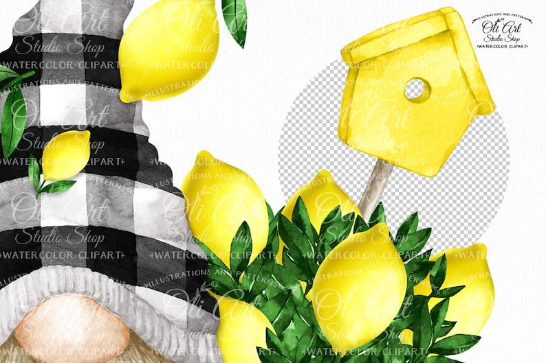 digital design Lemon gnome truck PNG format digital graphics hand-painted clipart instant digital download