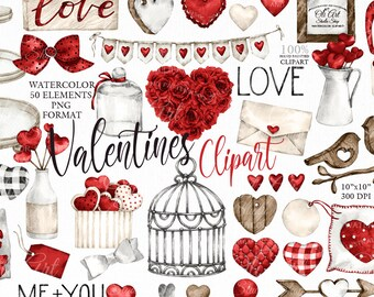 Watercolor Valentine's Day clipart, love clipart, Hand Drawn graphics, 50 Valentines Elements, instant download, digital clipart PNG