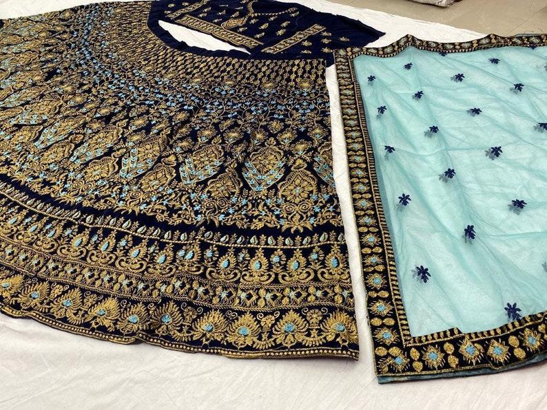 Velvet Lehenga Choli With Net Dupatta Designer Lengha Party Wear Dress Pakistani Lehenga Indian Wedding Dress Made To Measure Lengha Blouse