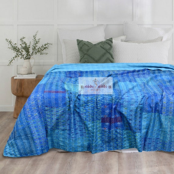 Indian Vintage Kantha Quilt Bedding Handmade Kantha Bedspread Cotton Bedcover Twin Size Ralli Gudari Single Size Old Recycled Cotton Throw