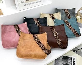 Callista Leopard Strap Crossbody Bag, Vegan Leather,Crossbody Bag, Tote bag, ,Leather purse, Faux leather handbag, Fanny pact