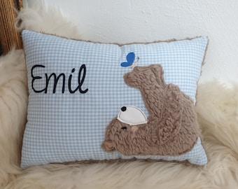 Pillow BaptismAl Pillow Bear Teddy Butterfly Blue Plaid & Wish Names