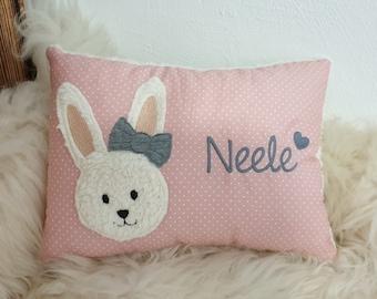 Pillow baptismpillow bunny bunny girl pink dots & wish names