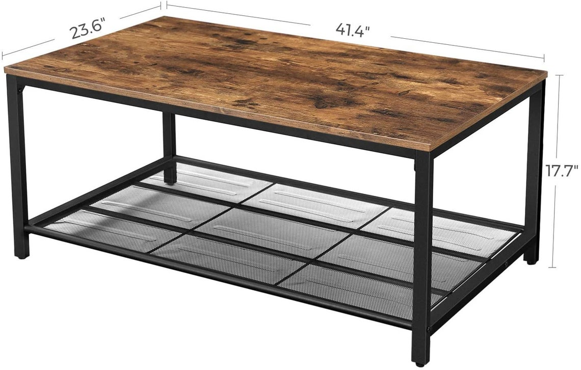 Coffee Table Living Room Cocktail Table Dense Mesh Shelf Large Storage Space