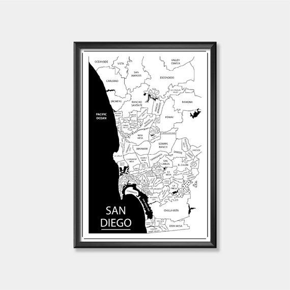 California Art Wedding Gift California State Art San Diego Heart Print San Diego Map Print Custom City Print Gift for Couple