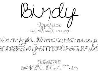 Font Birdy, A Cute Hand Drawn Cursive Script Typeface Set That Looks Like Natural Handwriting. Pretty, Fun, Creative Lettering Set
