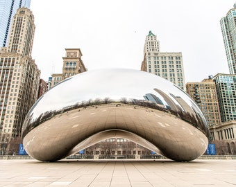 Chicago Bean (Cloud Gate) Downtown Millennium Park in The Loop. Two included: Color & Black and White. Fine Art Photo. Digital Download.