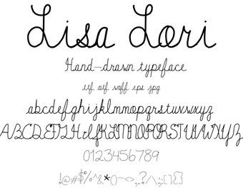 Font Lisa Lori, A Cute Handwritten Hand Drawn Script Font Letter And Character Set That Looks Like Natural Handwriting. Traditional Cursive.