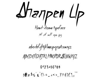 Font: Sharpen Up. An Edgy Character Set With Sharp Edges Like Knives. Hand Drawn Lettering With Letters Like Blades.