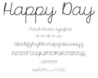Font Happy Day, A Cute Hand Drawn Cursive Script Font Set That Looks Like Natural Handwriting. Summer Park Picnic Invitation Fun!