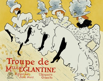 Toulouse Lautrec Art Reproduction - La Troupe De Mlle Eglantine - Recreated in High Resolution. Print and Frame Any Size.