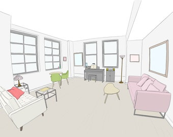 Custom Home Portraits - I will draw from your photo! Hand Drawn Illustration From Photo. Digital Download Print. Home Interior, Real Estate.