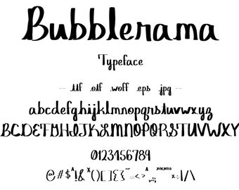 Font Bubblerama, A Creative, Casual Typeface. Hand Drawn With A Relaxed, Cursive Look Like Natural Handwriting. Vintage Style.