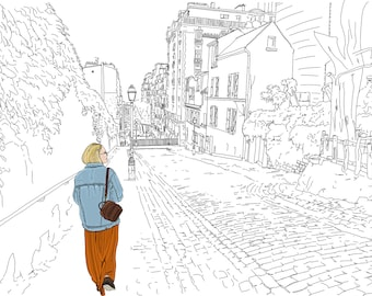 Paris Montmartre Drawing. City Street Scene Woman on Cobblestone Street in Montmartre. Hand Drawn Illustration. Digital Art Instant Download