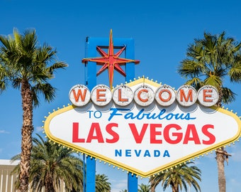 The Famous Welcome To Fabulous Las Vegas Sign With Palm Trees. Las Vegas City Vacation Travel Fine Art Photo. Digital Download.