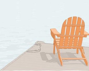 Adirondack Chair on a Lake. Vacation, Relaxation, Travel, Paradise Drawing. Hand Drawn Illustration. Digital Art Print Download.