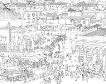 Athens, Greece. Monastiraki Square Crowded Market Street Scene. Detailed Drawing. Digital Download Art Print. Hand Drawn Illustration.