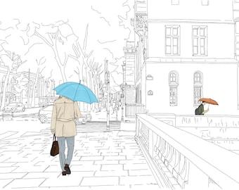 Paris City Scene Drawing. Gentleman Walks With Umbrella Over Cobblestone In The Rain. Hand Drawn Illustration. Digital Art Instant Download