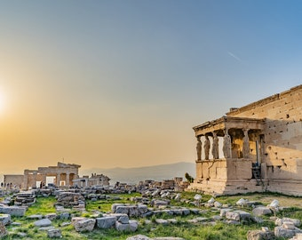 Acropolis Ancient Greece Caryatid Porch Sunset Field Travel Fine Art Photo. Digital Download Photo To Print and Frame