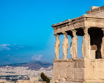Acropolis Ancient Greece Caryatid Porch With Bright, Vibrant Blue Sky. Travel Fine Art Photo. Digital Download Photo To Print and Frame