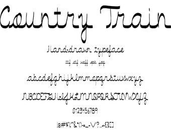 Font Country Train, A Casual Relaxed Handwritten, Hand Drawn Cursive Script Like Natural Handwriting. Cute letters rural journey theme.