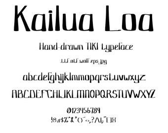 Font Kailua Loa, A Creative Typeface with Tiki, Polynesian, Hawaiian Style! This Cool Typeface is Hand Drawn With Vintage, Retro Tiki Style.