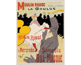Toulouse Lautrec Art Reproduction - Moulin Rouge La Goulue - Recreated in High Resolution. Print and Frame Any Size.