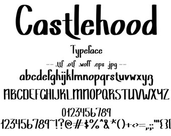 Font Castlehood Modern Gothic Typeface. Traditional Calligraphy Letter and Character Set With Bold Lines. Beautiful Hand Drawn Letters.