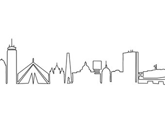 Boston Skyline Line Drawing, Simple Skyscraper Panoramic View. Cityscape Sketch. Hand Drawn Illustration. Digital Art Print Download.
