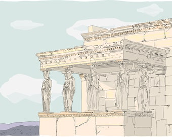 Caryatid Porch at the Acropolis of Athens, Greece. Two drawings included of these beautiful Ancient Ruins. Hand Drawn. Digital Art Print.