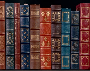 Beautiful Leather Bound Books For A Web Banner. High Resolution Photograph. Digital Download.