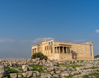 Beautiful Erechtheion Ancient Ruins at the Acropolis in Athens, Greece. View of Caryatid Porch. Travel Fine Art Photo. Digital Download