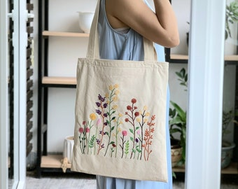 pencil case Hand embroidered tote bag