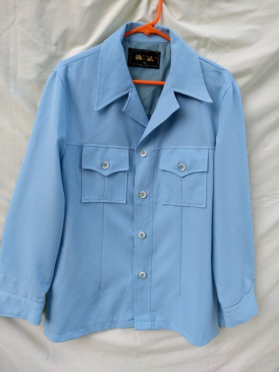 Men's 1970s Leisure Suit Jacket; light blue
