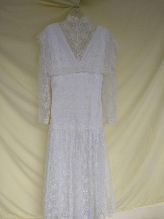 Jessica McClintock Ivory Lace Dress; Vintage