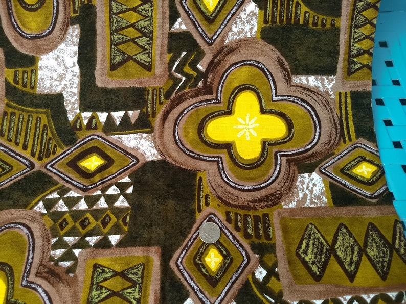 olives yellow Vintage Barkcloth; abstract pattern in browns
