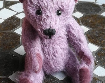 Handmade teddy from sparse mohair in old pink