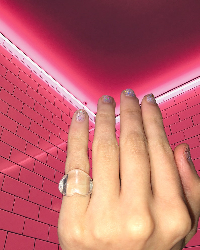 Clear Heart Resin chunky ring Heart Statement ring Pinky Ring Transparent Heart Resin Ring Acrylic chunky ring