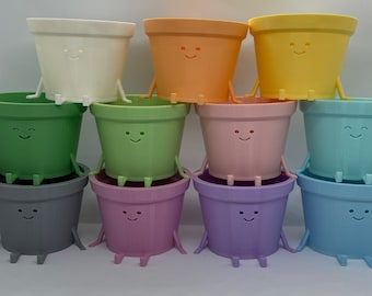 Happiest Planters in PASTEL! Kawaii Planter, Planter with Face, Succulent Planter, Indoor Planter