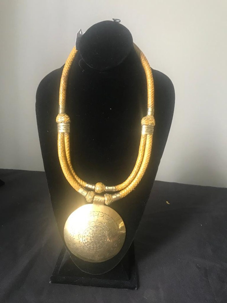 Round Brass Pendant Necklace w Leather Strands