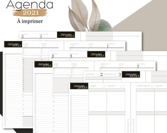 Pack Agendas 2021 French - 3 A5 Models Dated to Print
