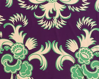 Silk fabric, Italian designer silk fabric, purple with beautiful green print