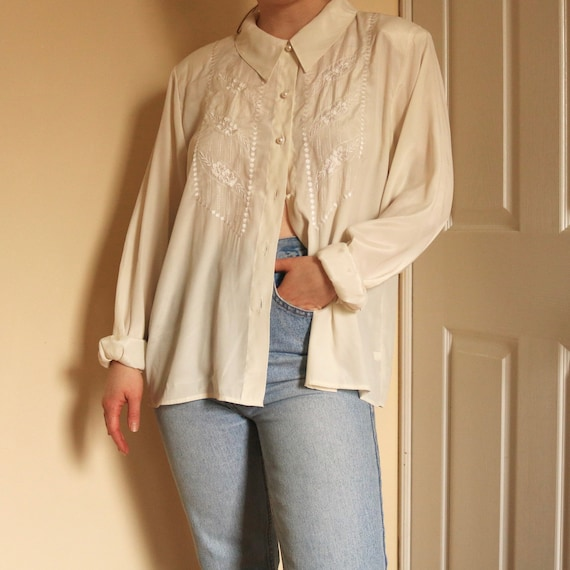 80s Floral Embroidered Blouse