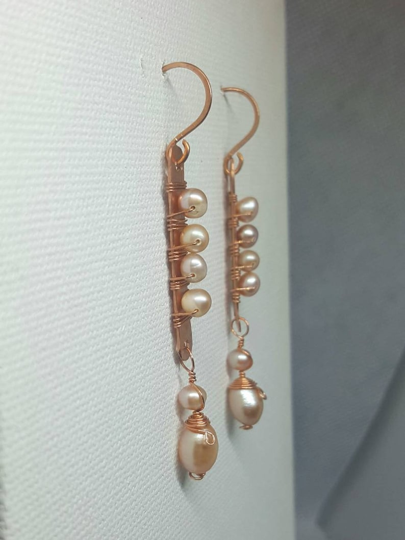 handmade OOAK Dainty Pure copper hammered stick earrings with peach freshwater pearls hand-fashioned and textured wire wrapped