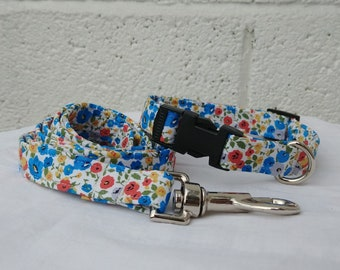 Blue Poppies Spring Floral Dog Collar & Lead