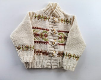 Child's Fair isle Cardigan - Knit handmade toddler cardigan - unisex sweater