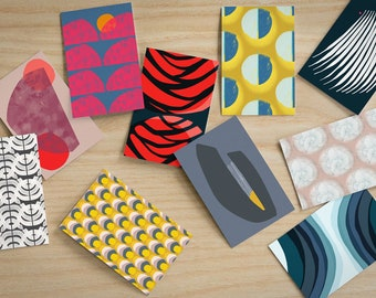 Abstract Pattern Postcards, Pack of 10 - Abstract Variety Pack Blank Cards