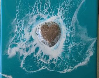Resin Ocean Art, resin waves, beach art, resin beach art, resin ocean art, resin waves, blue waves, beach lover, beach home decor, 6x6, wave