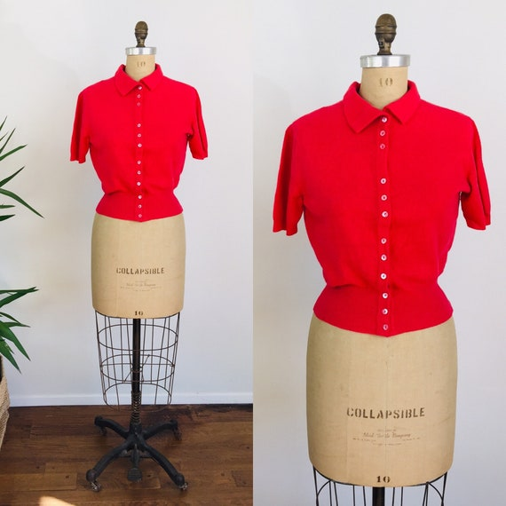 1950s Vintage BARBERRY CASHMERE Pin Up Girl Sweate
