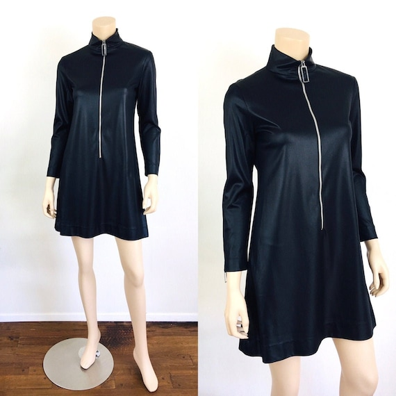 Vintage 1960s BLACK Silver ZIPPER FRONT High Neck